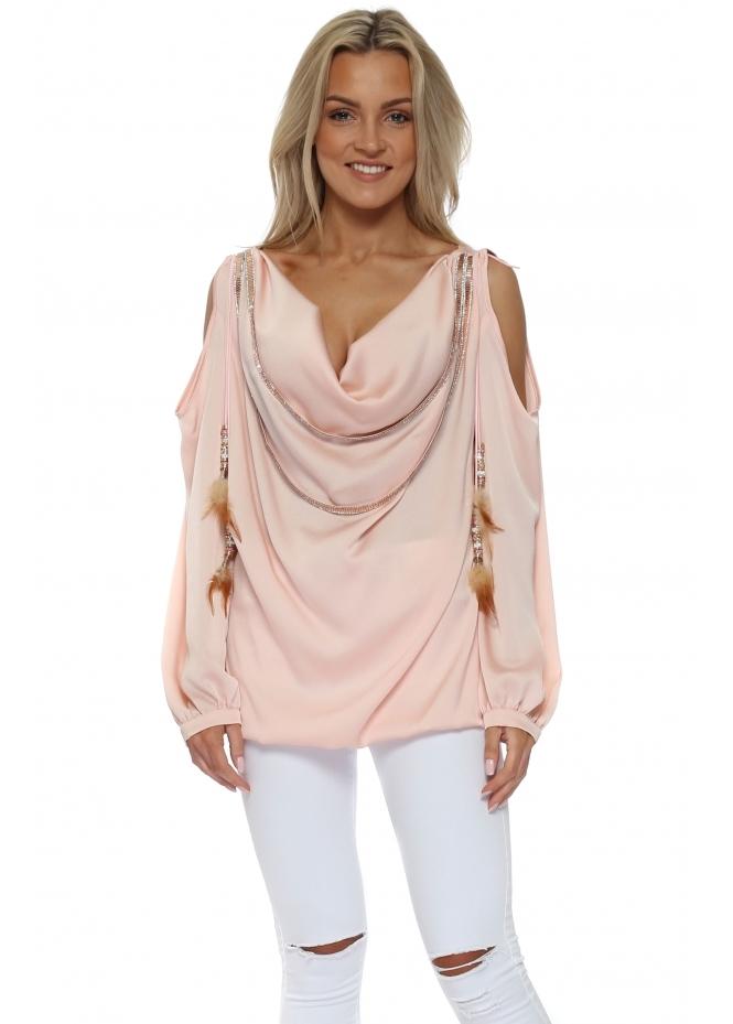 Monaco Pink Diamante Cowl Neck Cold Shoulder Blouse