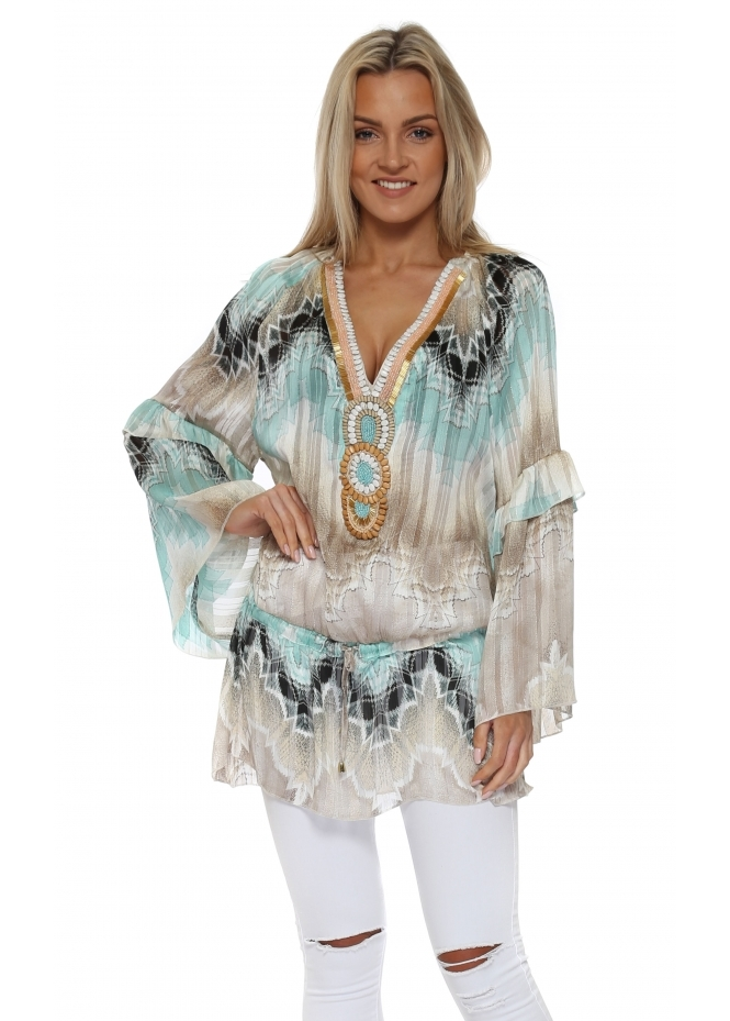 Just M Paris Luis Aqua & Mocha Beaded Chiffon Tunic Top