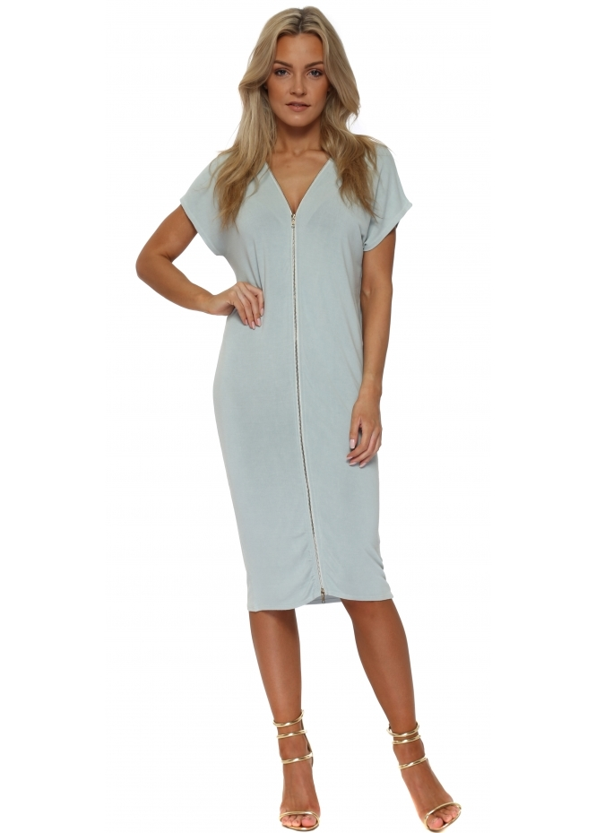 A Postcard From Brighton Eddie Julep Grey Double Zip Sleeveless Dress