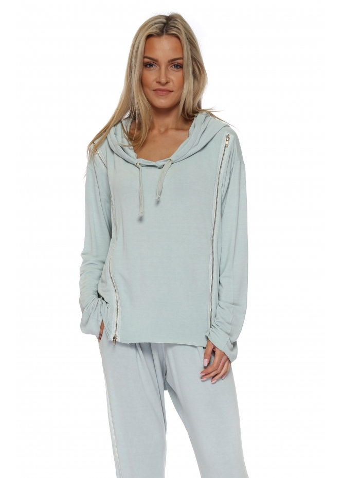A Postcard From Brighton Venus Julep Grey Double Zipped Hoodie