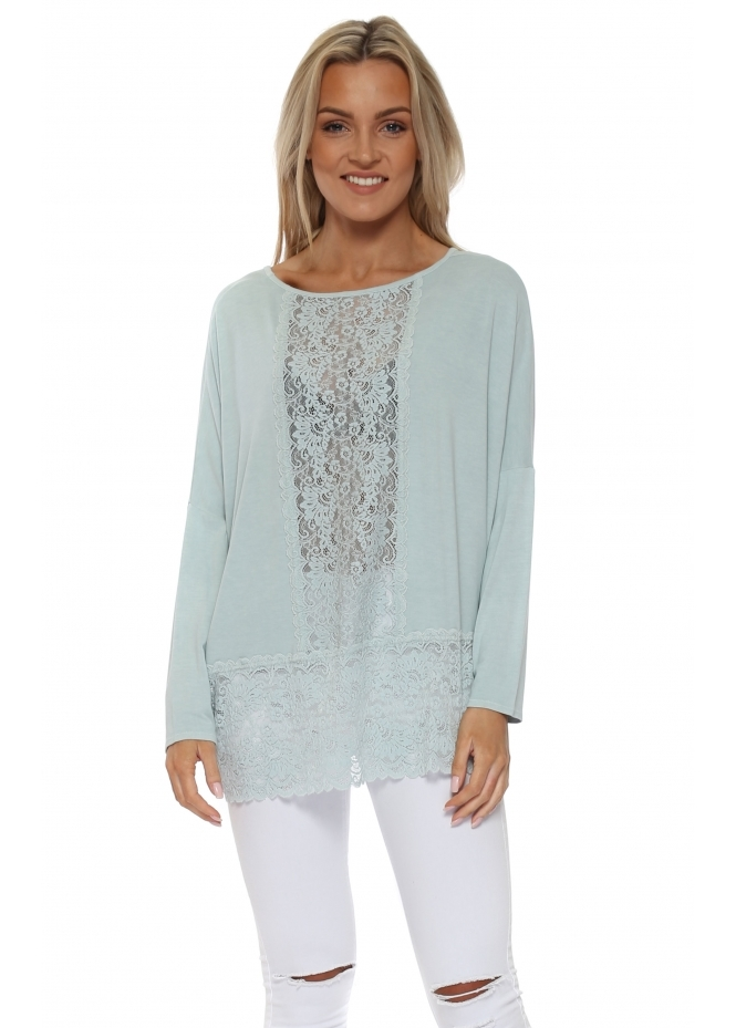 A Postcard From Brighton Binkie Julep Grey Lace Insert Slouch Top