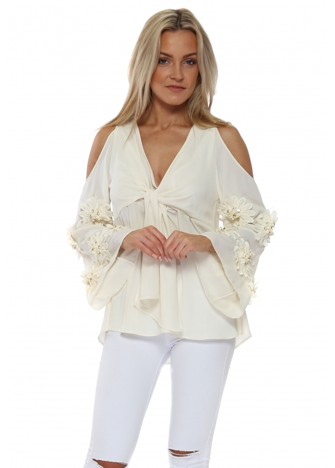 Monaco Cream Diamante Flowers Cold Shoulder Blouse