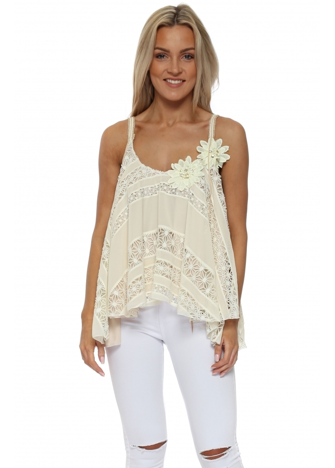 Laurie & Joe Cream Crochet Swing Vest Top