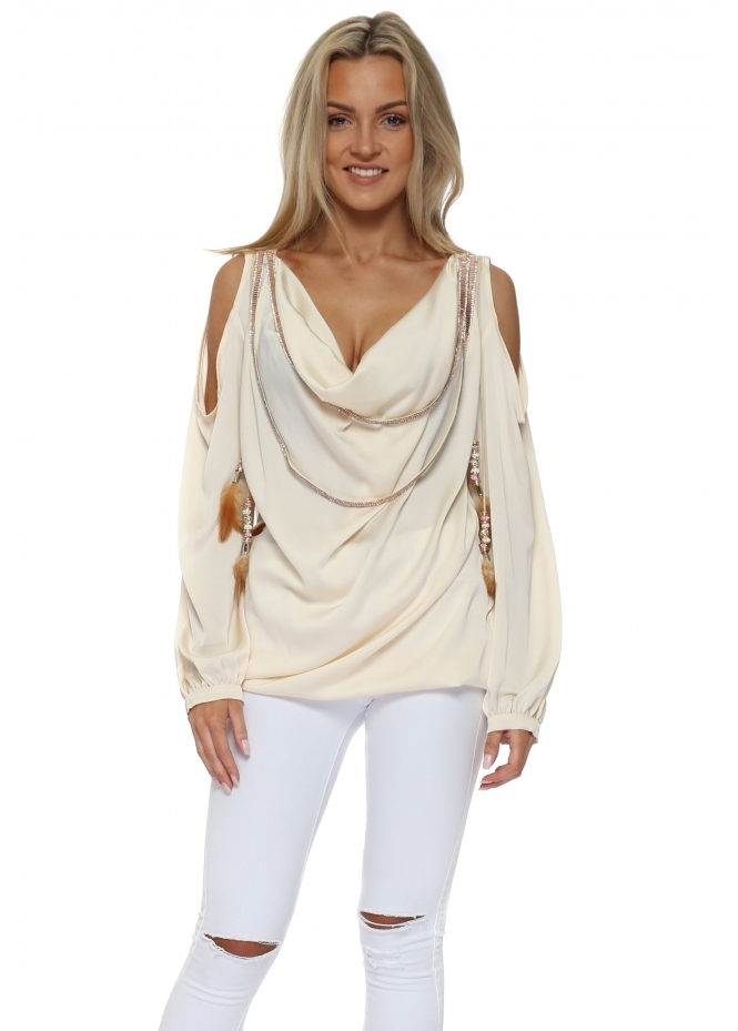 Monaco Cream Diamante Cowl Neck Cold Shoulder Blouse