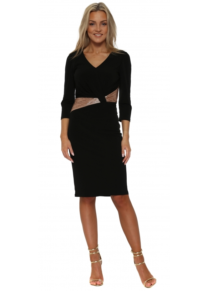 Mascara Black Long Sleeved Pencil Dress With Gold Beaded Waist