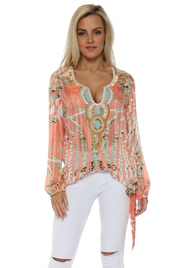 Just M Paris Noeud Coral Tropical Paisley Tie Side Top