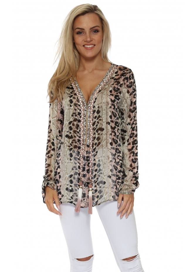 Just M Paris Diams Pink Leopard Print Crystal Embellished Tunic Top
