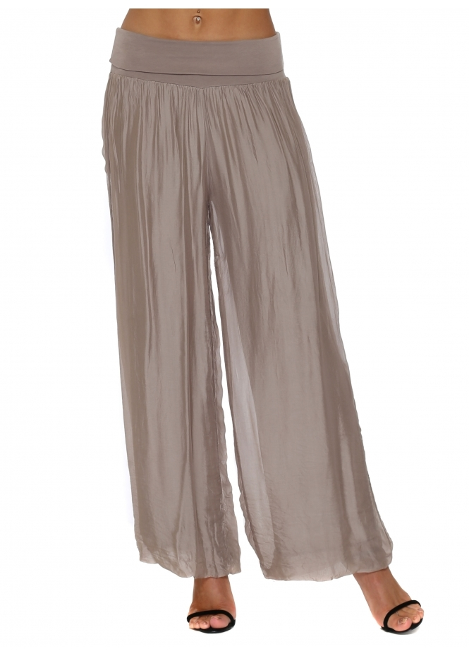 French Boutique Mocha Silk Palazzo Trousers
