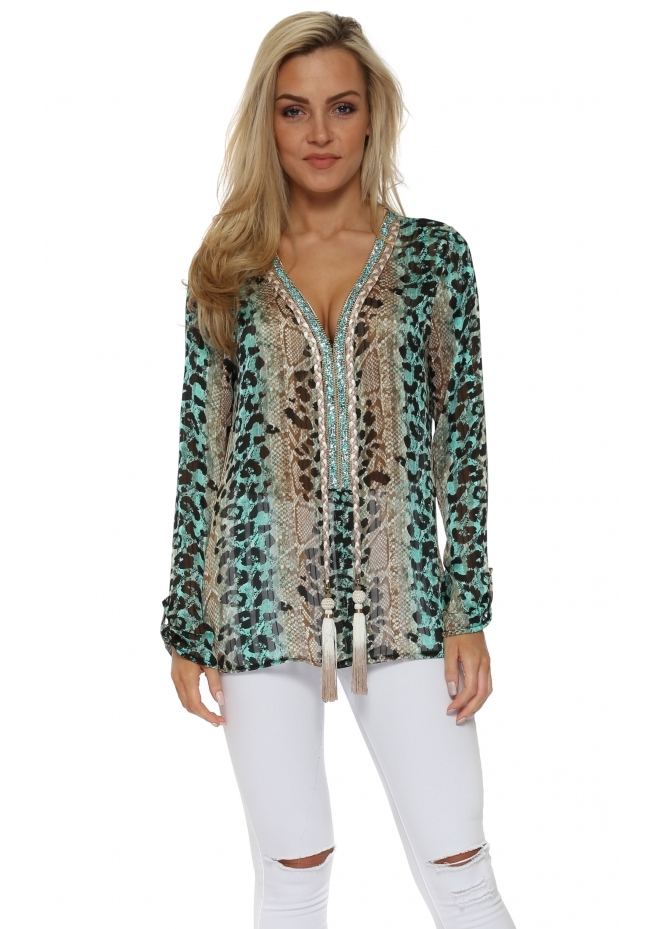 Just M Paris Diams Turquoise Leopard Print Crystal Embellished Tunic Top