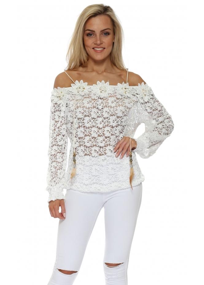 Just M Paris Fleur White Lace Off The Shoulder Top