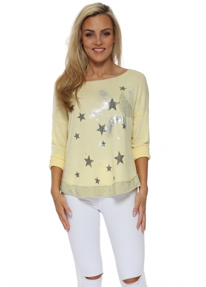 Made In Italy Yellow Silver Hologram Star Sweater Top