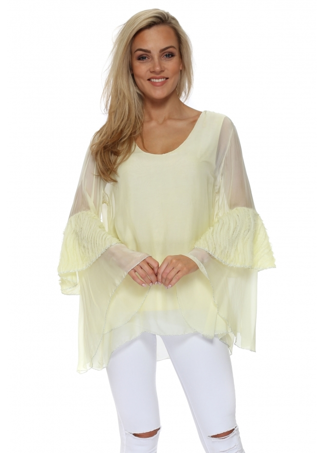 Monton Yellow Frayed Bell Sleeve Silk Top