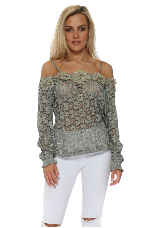 Just M Paris Fleur Khaki Lace Off The Shoulder Top