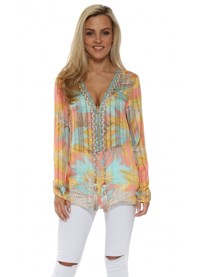 Just M Paris Diams Candy Province Print Crystal Embellished Top