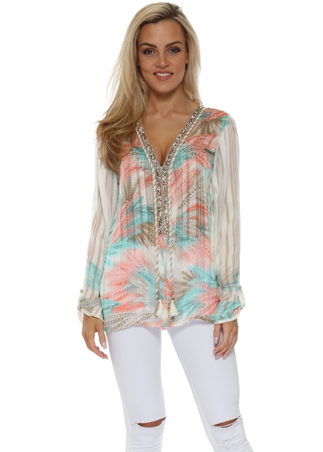 Just M Paris Diams Pastel Province Print Crystal Embellished Tunic Top