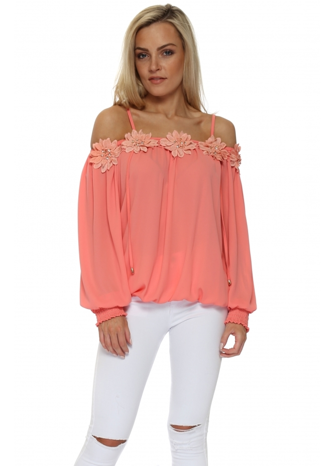 Just M Paris Fleur Coral Chiffon Off The Shoulder Top