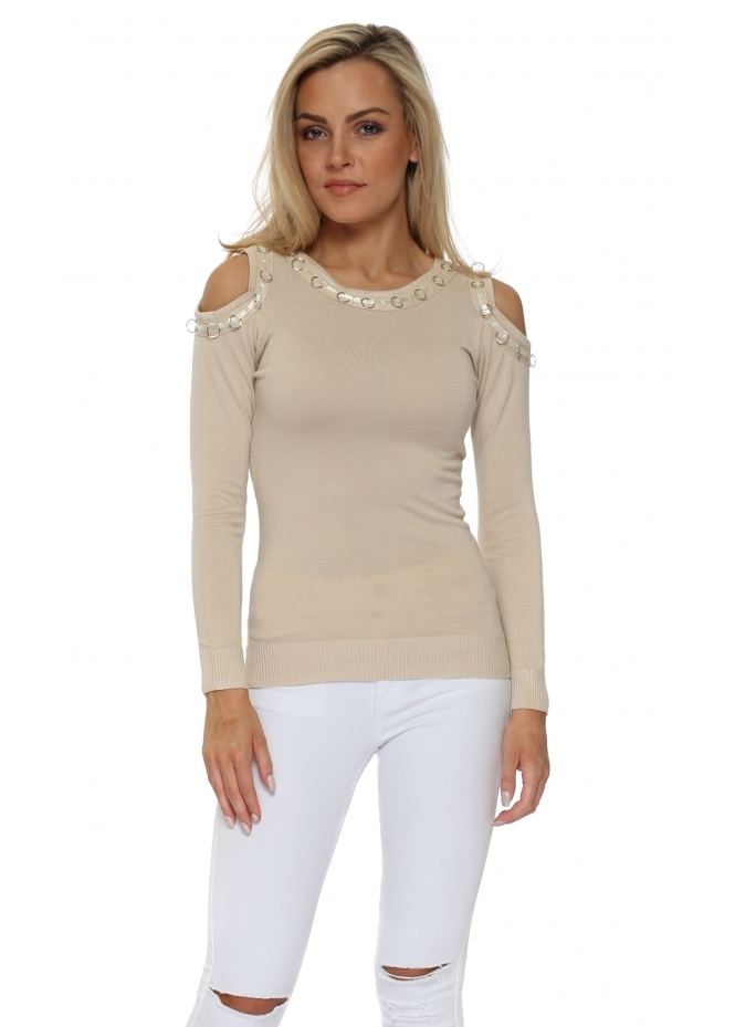 French Boutique Beige Ribbon Rings Cold Shoulder Jumper