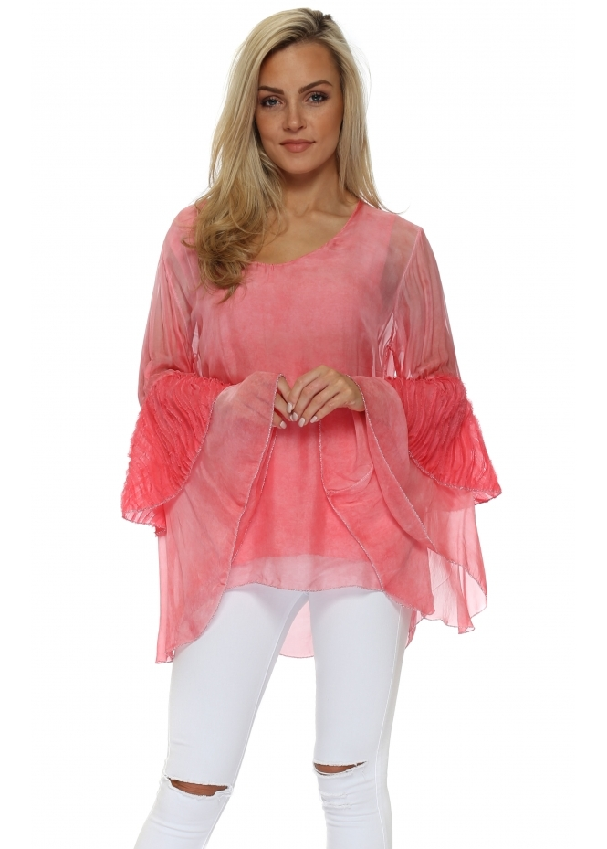Monton Coral Frayed Bell Sleeve Silk Top