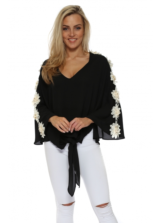 Monaco Black Floral Embellished Kaftan Top