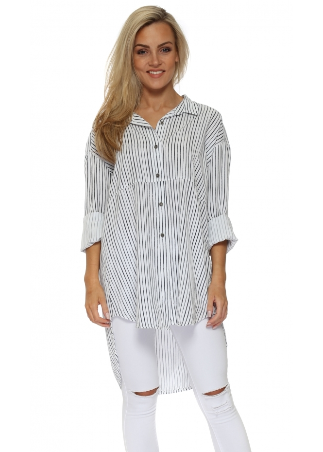 Made In Italy White Pin Stripe Oversized Shirt