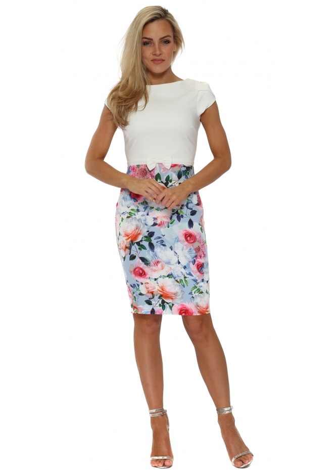 Paper Dolls Multi Floral Printed Colour Block Pencil Dress