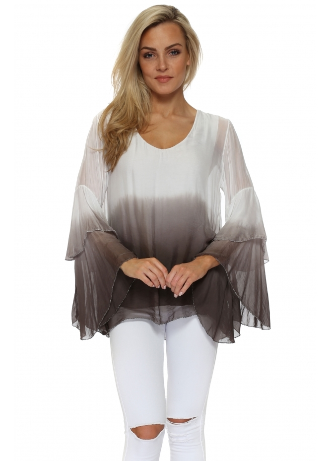 Monton White & Mocha Ombre Tiered Sleeve Silk Top