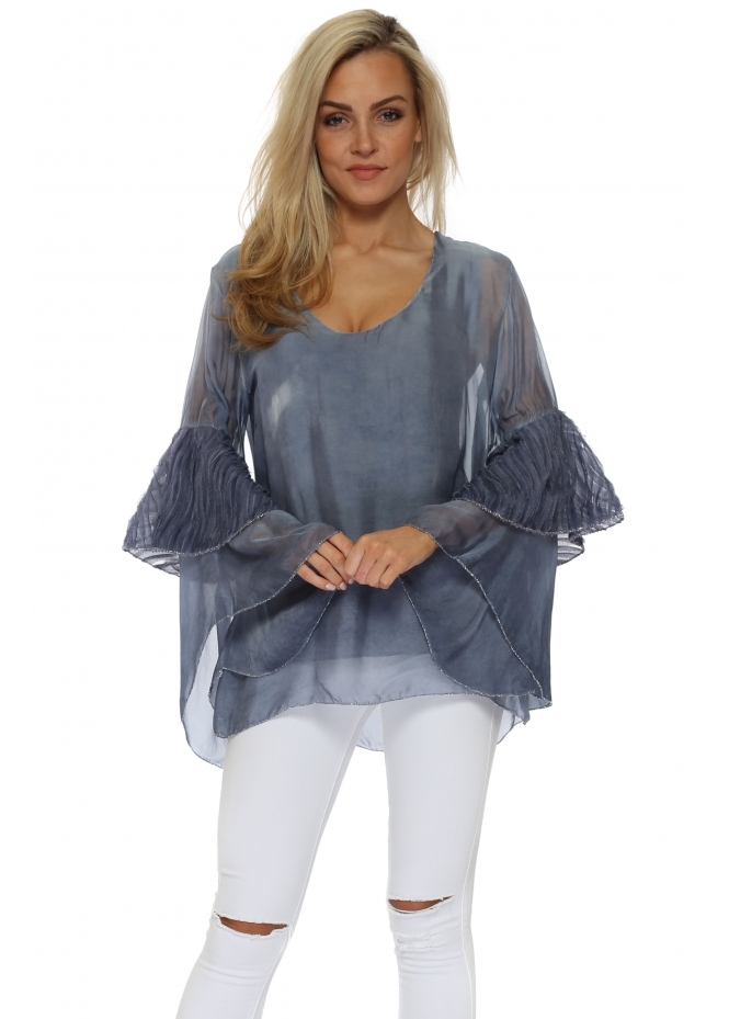 Monton Blue Frayed Bell Sleeve Silk Top