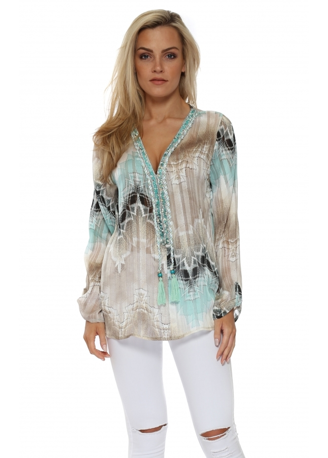 Just M Paris Diams Aqua & Mocha Crystal Embellished Tunic Top