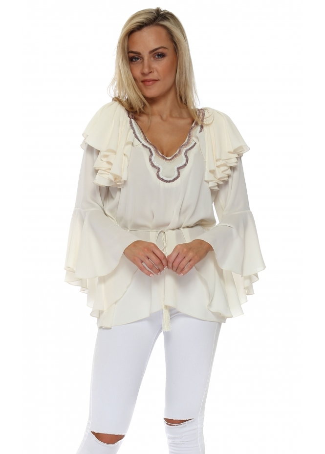 My Story Cream Chiffon Beaded Ruffle Blouse