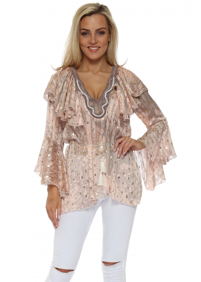 My Story Pink Paisley Gold Foil Spot Ruffle Blouse