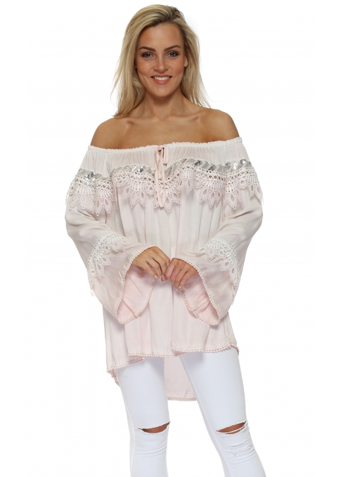 Pinka Pink Sequinned Lace Off The Shoulder Top