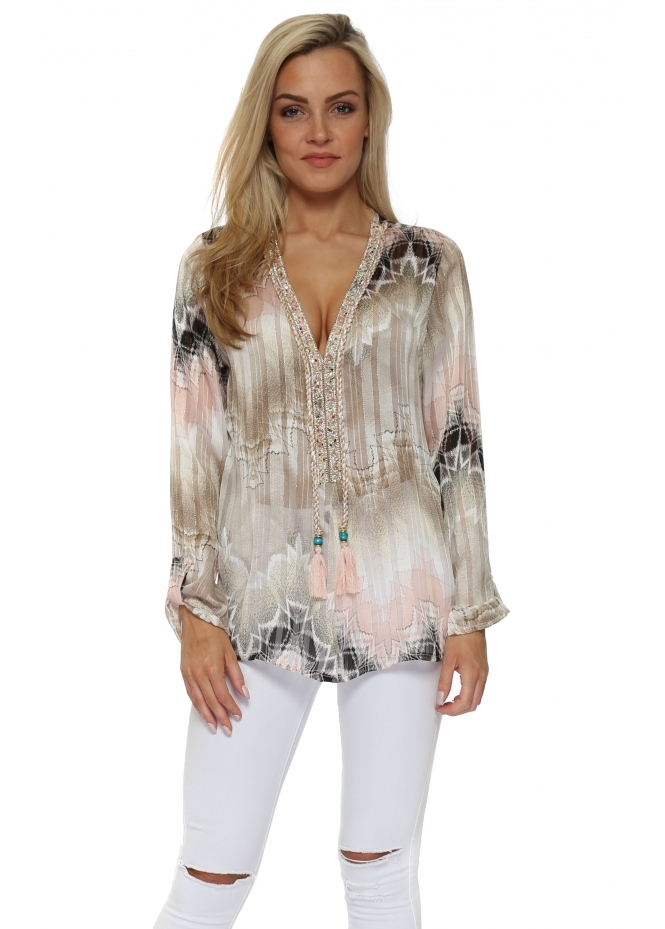 Just M Paris Diams Pink & Mocha Crystal Embellished Tunic Top