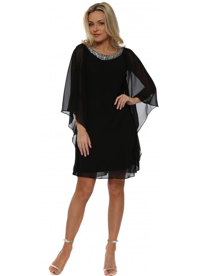 Mascara Black Chiffon Diamonte Batwing Dress