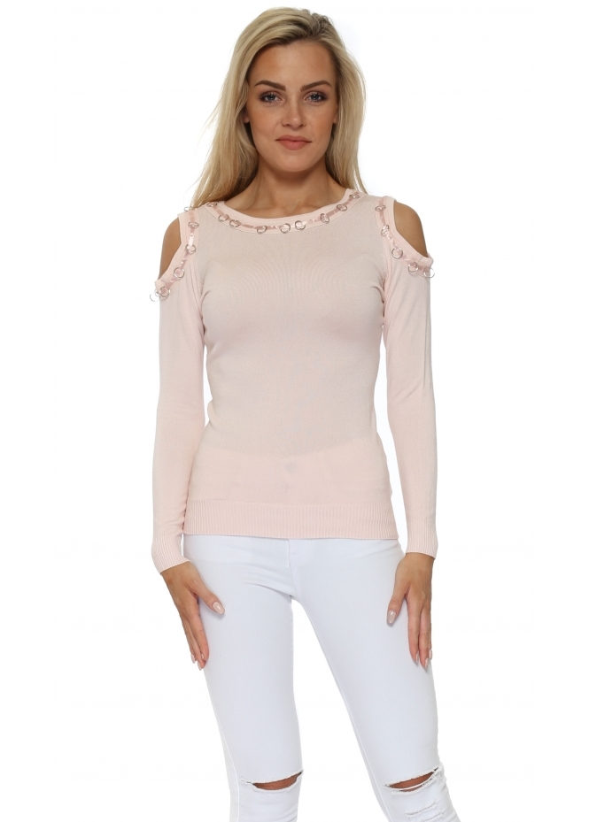 French Boutique Baby Pink Ribbon Rings Cold Shoulder Jumper