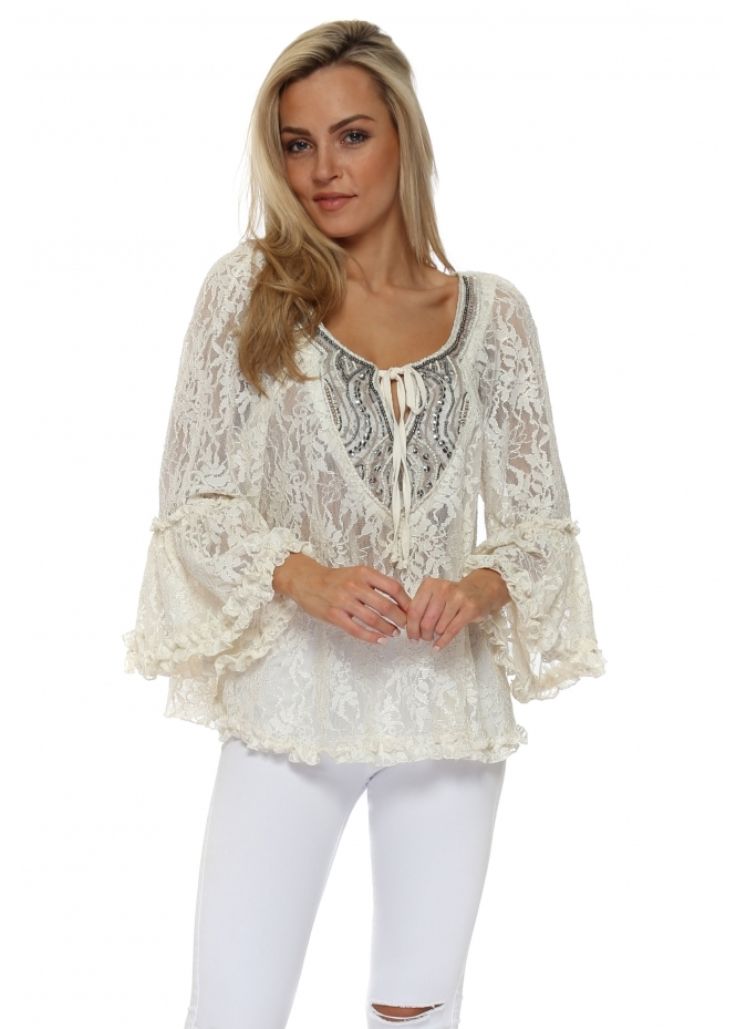 My Story Cream Lace Ruffle Beaded Blouse