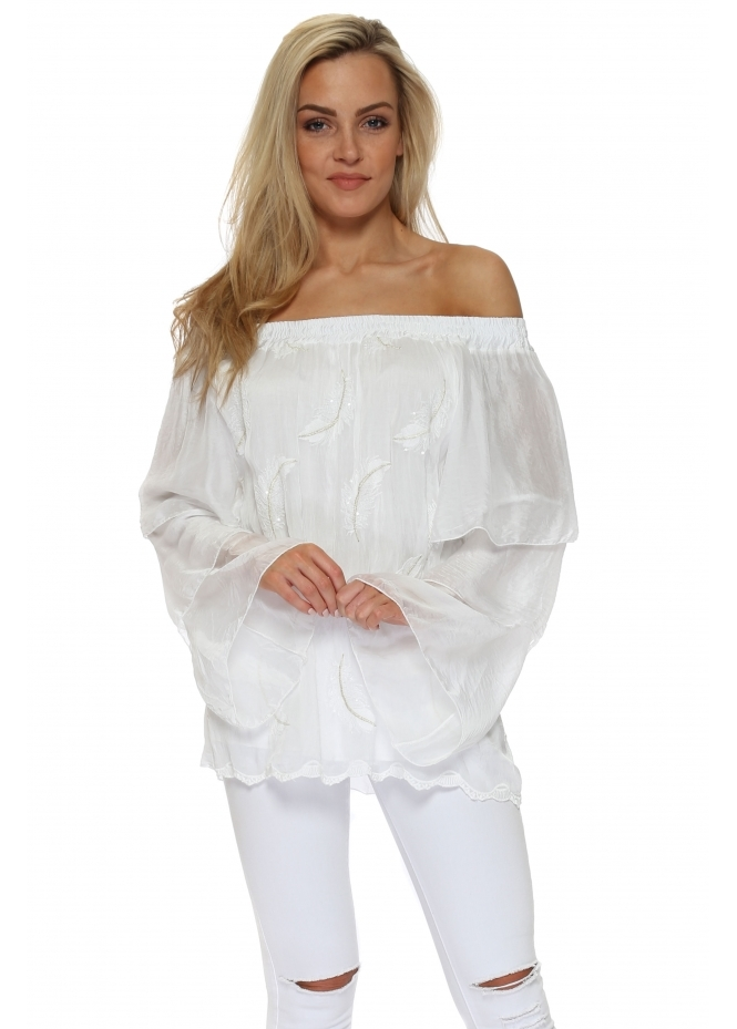 French Boutique White Sequinned Feather Silk Off The Shoulder Top