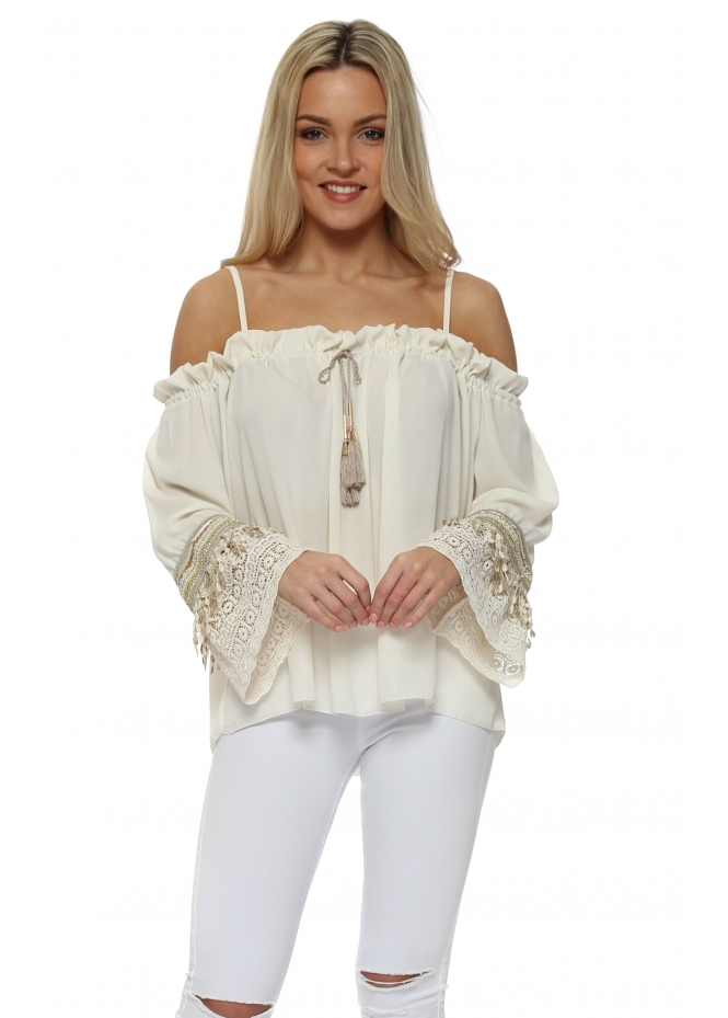 Laurie & Joe Cream Bandeau Embroidered Cuff Top