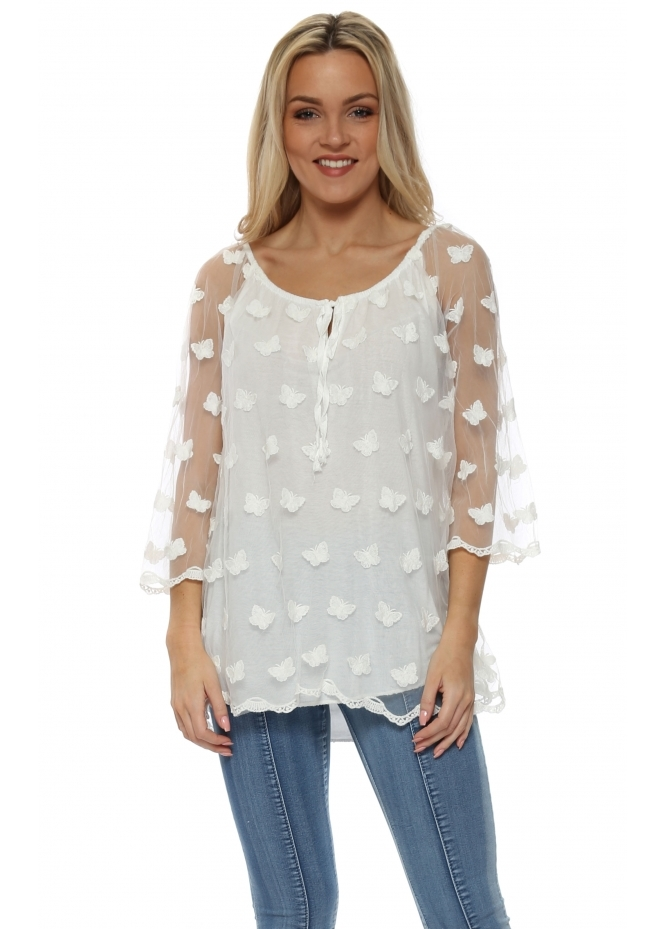 Made In Italy White Crinkly Butterfly Tulle Top