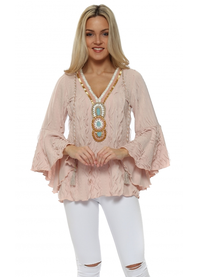 My Story Pink Textured Ruffle Embellished Blouse