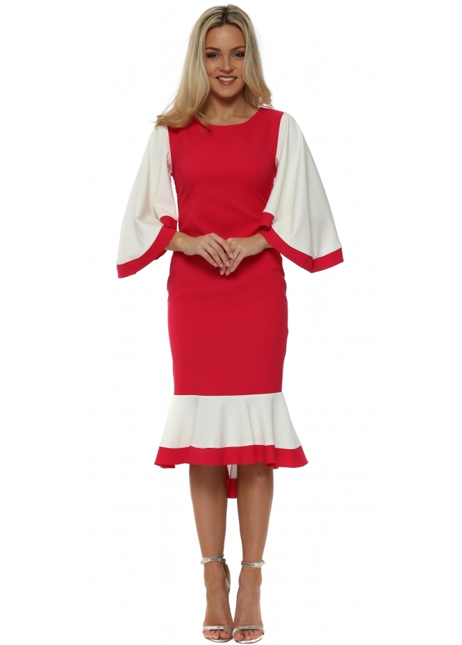 Red & Royal Fuchsia Colour Block Frill Batwing Dress