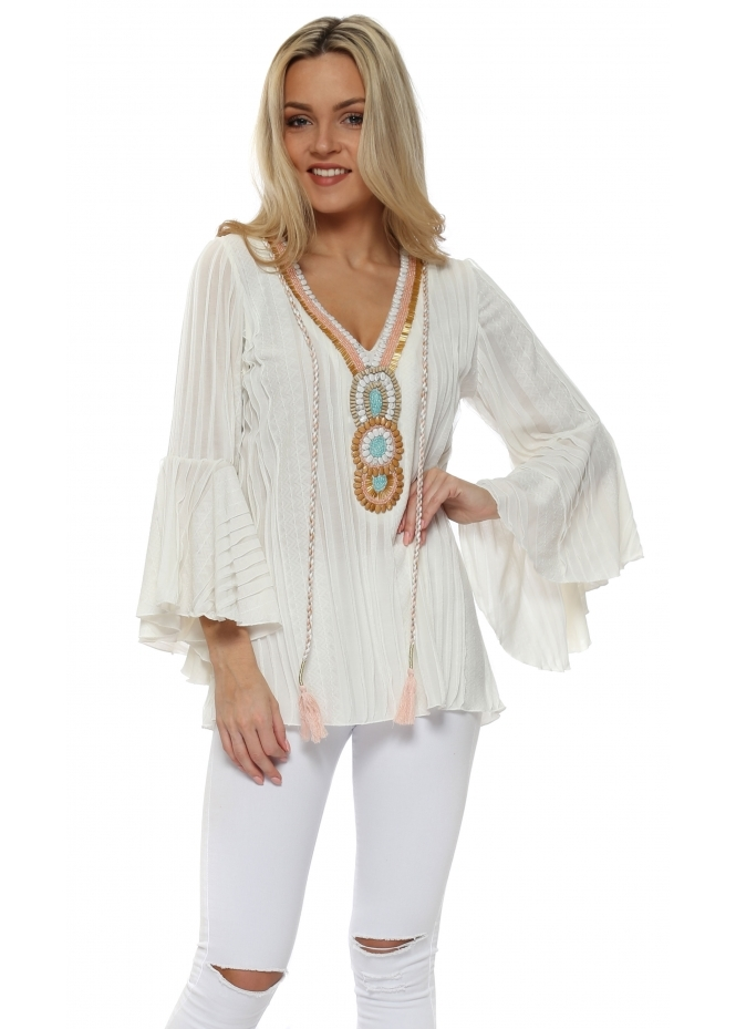 My Story Cream Textured Ruffle Embellished Blouse
