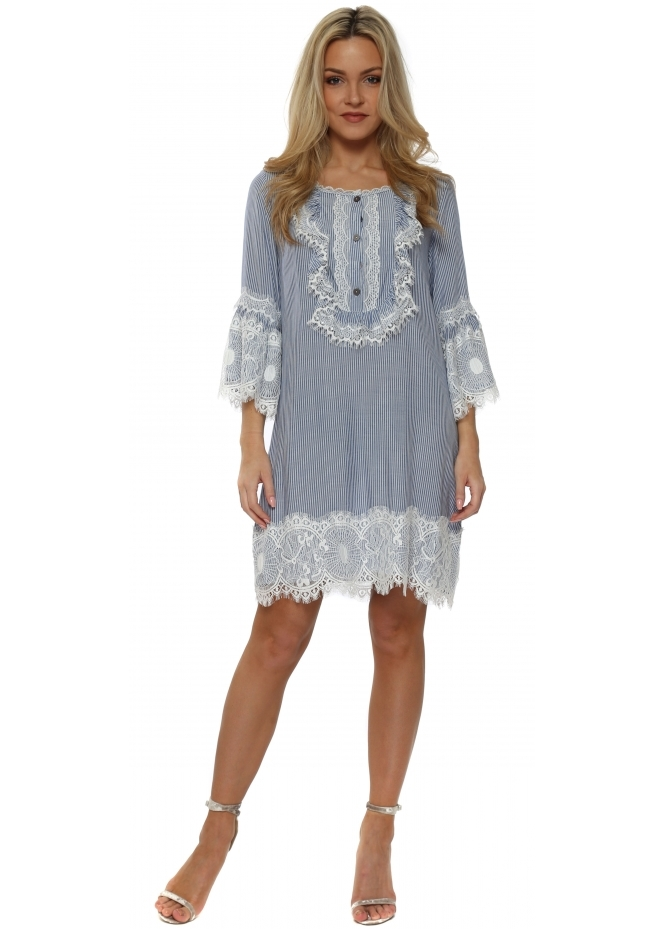 Made In Italy Blue Pin Stripe Lace Tunic Dress