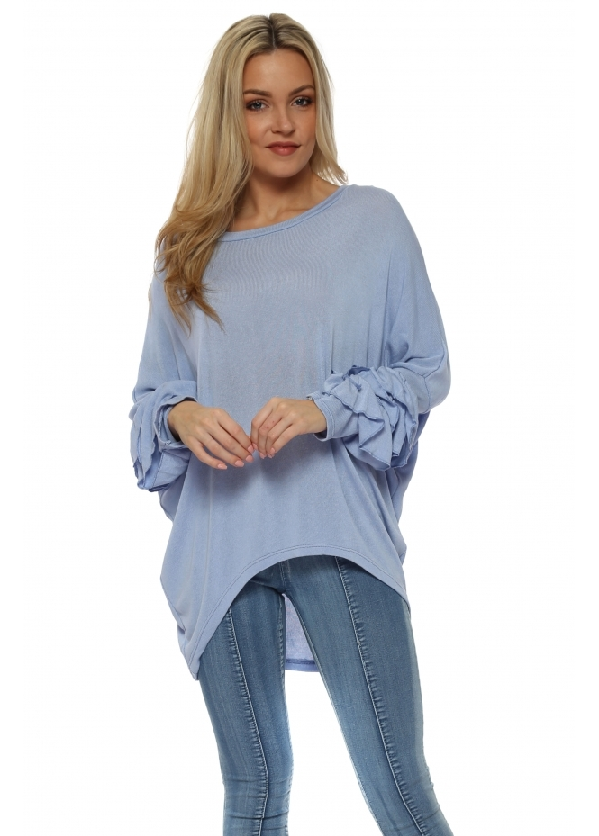French Boutique Baby Blue Layered Frill Sleeve Dip Hem Top