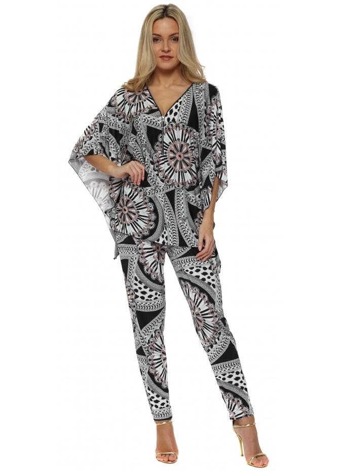 French Boutique Aqua Pink & Black Paisley Print Trouser Suit