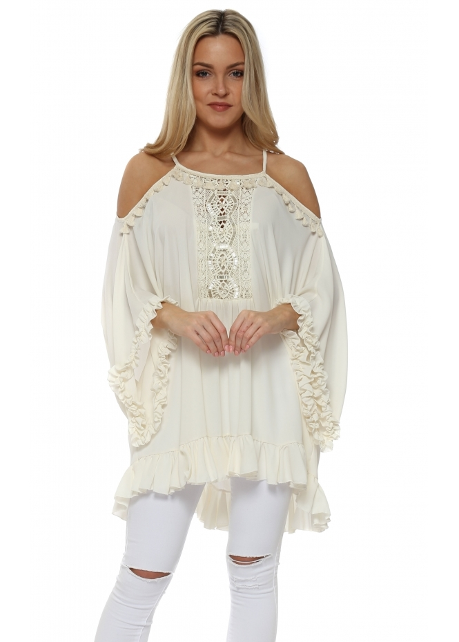 My Story Cream Ruffle Crochet Panel Cold Shoulder Tunic Top