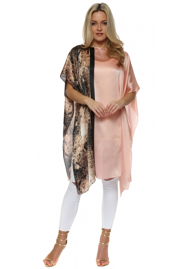 French Boutique Baby Pink Satin Colour Block Snake Print Kaftan