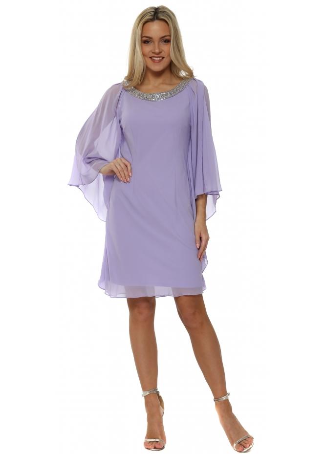 Mascara Lilac Chiffon Diamonte Batwing Dress