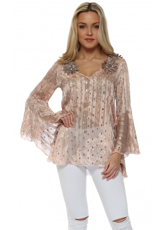 My Story Pink Gold Foil Spots Floral Embellished Top