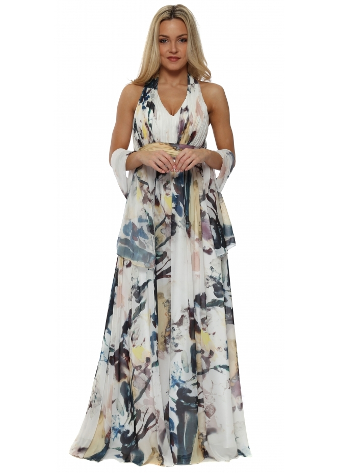 Mascara Pleated Bodice Multicolour Halter Neck Maxi Dress