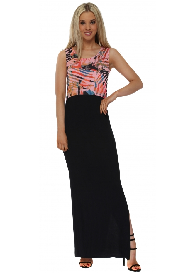 A Postcard From Brighton Tamra Tropical Tribe Coral Colour Block Maxi Dress
